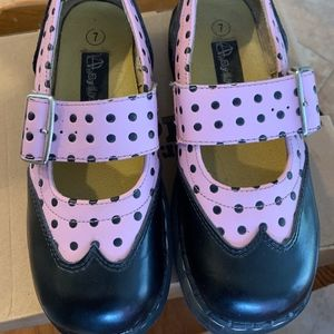 Anarchic Pink and Black Polka Dot Mary Janes